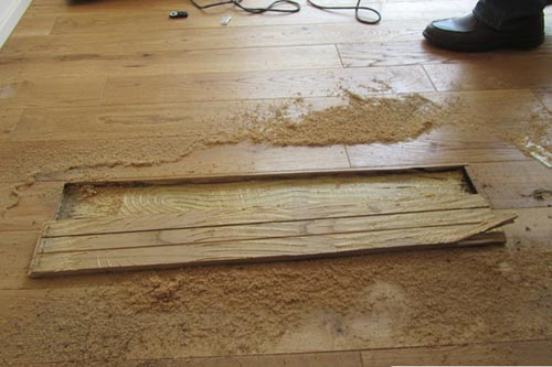 Structural component opening - plank flooring